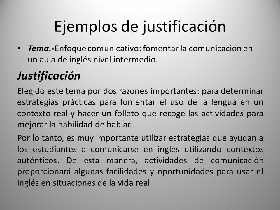 Ejemplos de justificación