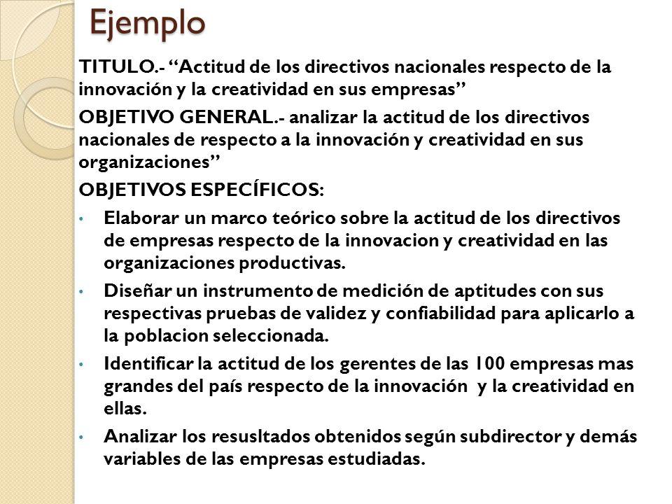 Ejemplo TITULO.- Actitud de los directivos nacionales respecto de la innovación y la creatividad en sus empresas