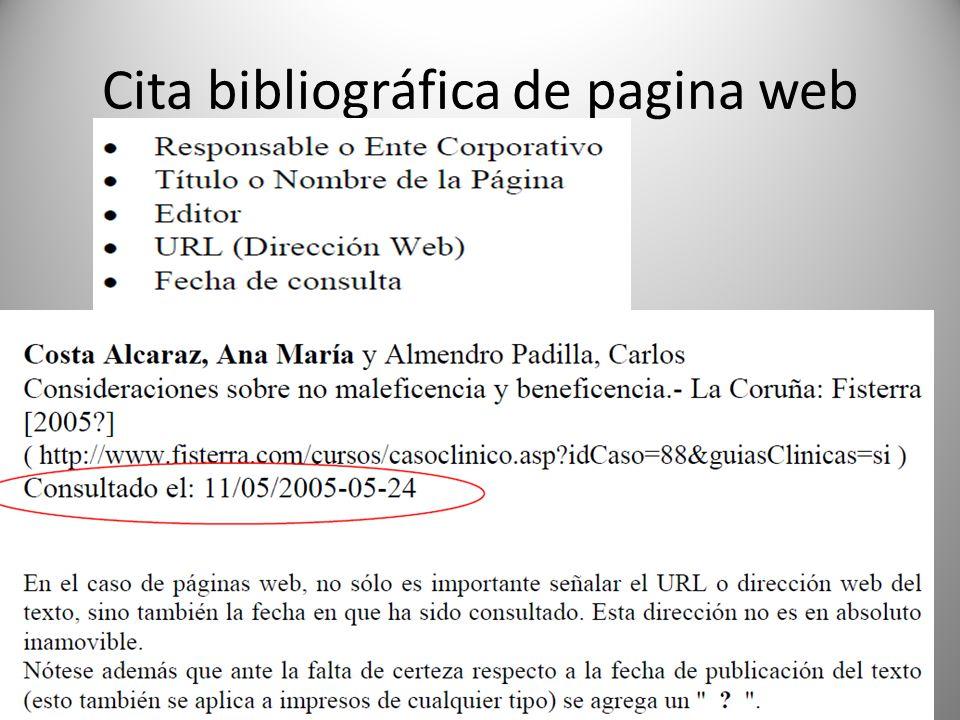 Cita bibliográfica de pagina web