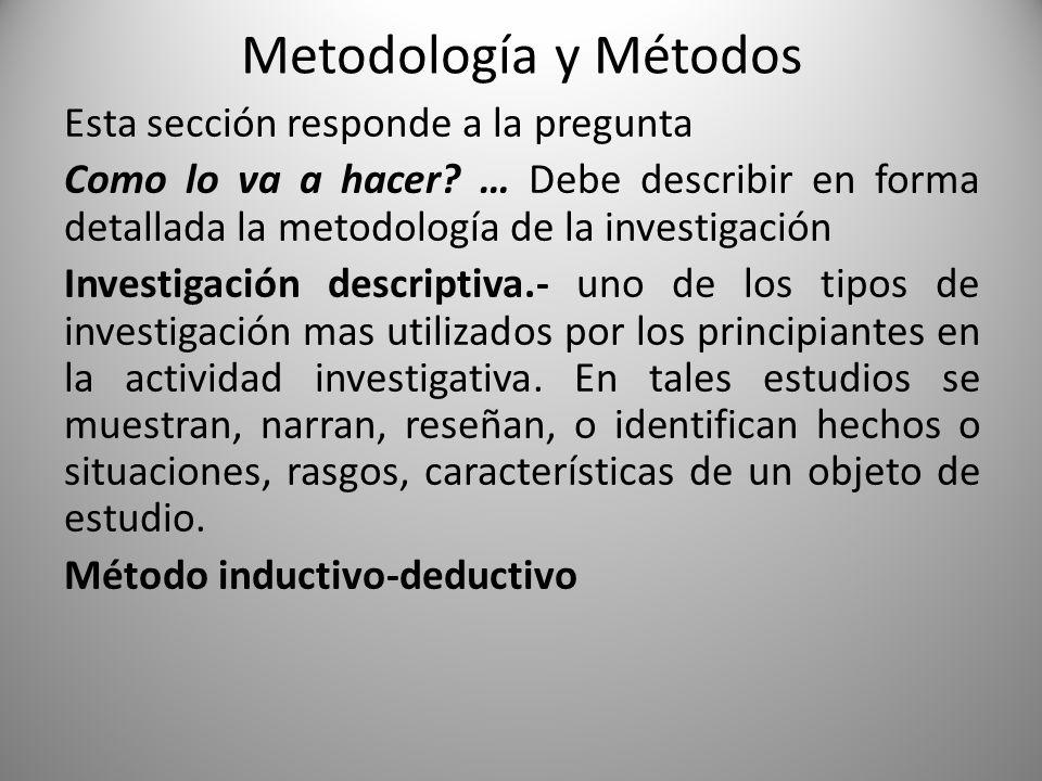 Metodología y Métodos