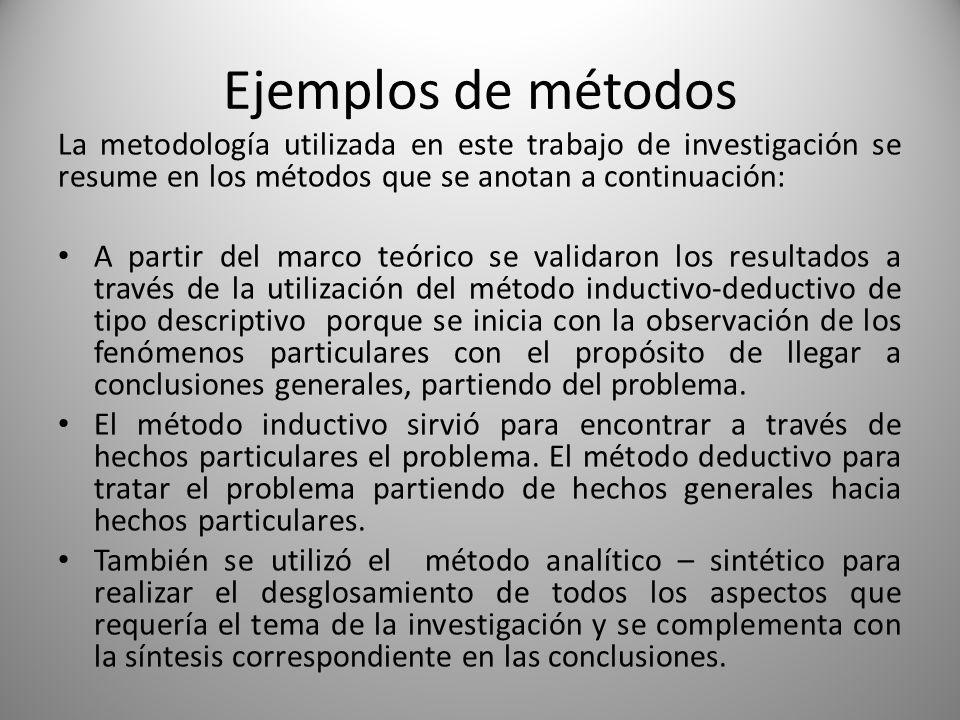 Ejemplos de métodos La metodología utilizada en este trabajo de investigación se resume en los métodos que se anotan a continuación: