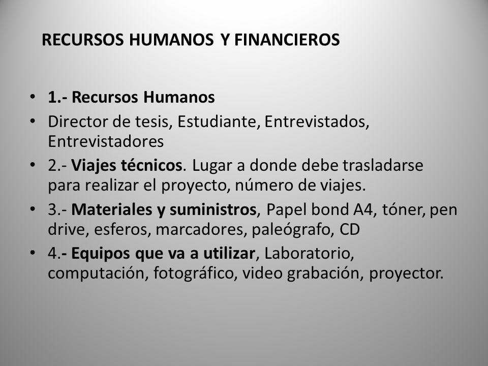 RECURSOS HUMANOS Y FINANCIEROS