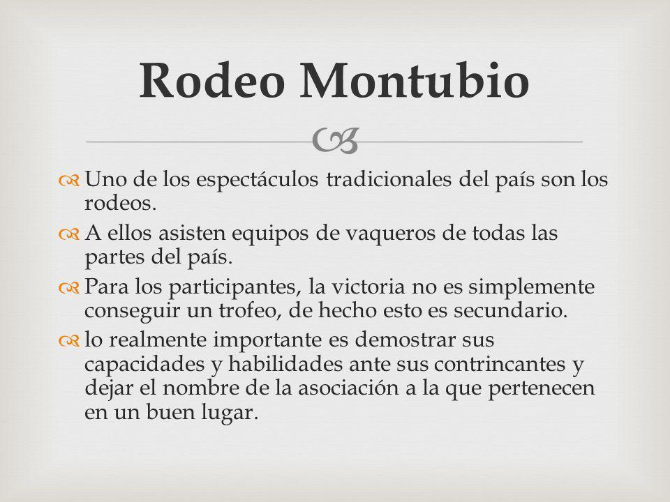Rodeo Montubio Uno de los espectáculos tradicionales del país son los rodeos. A ellos asisten equipos de vaqueros de todas las partes del país.