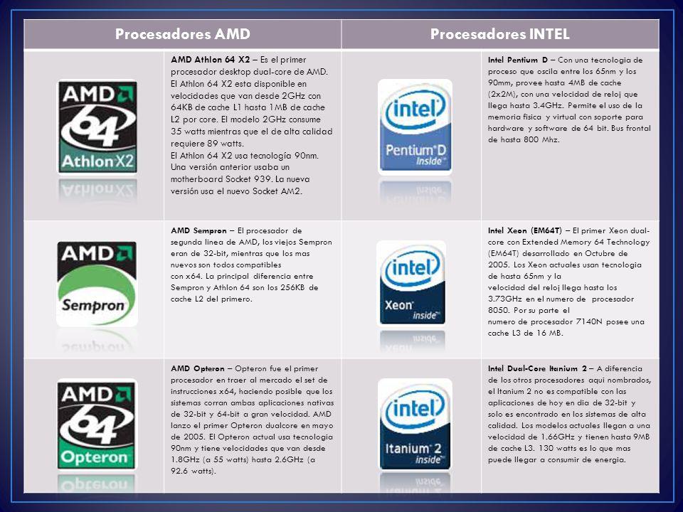 Procesadores AMD Procesadores INTEL