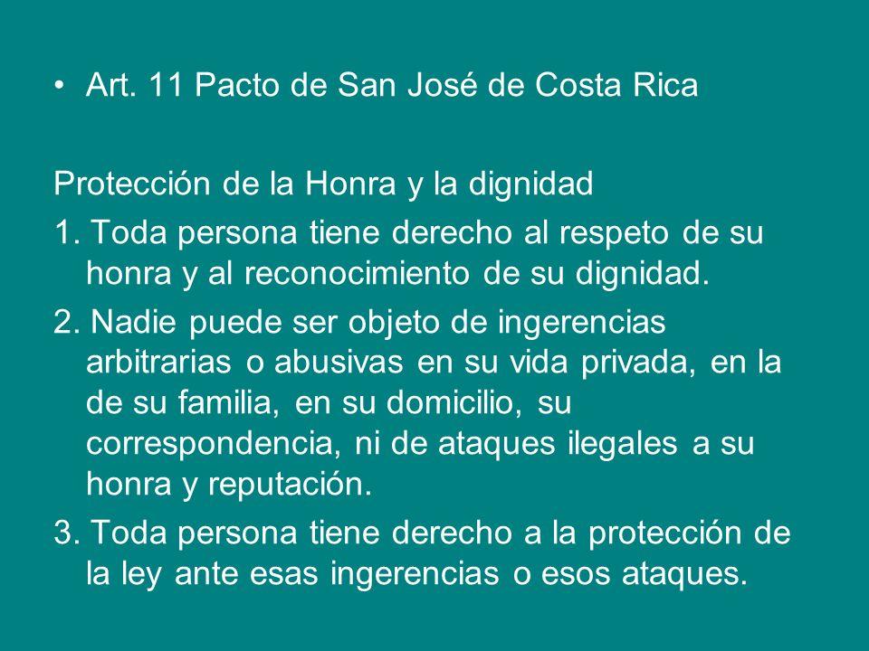 Art. 11 Pacto de San José de Costa Rica