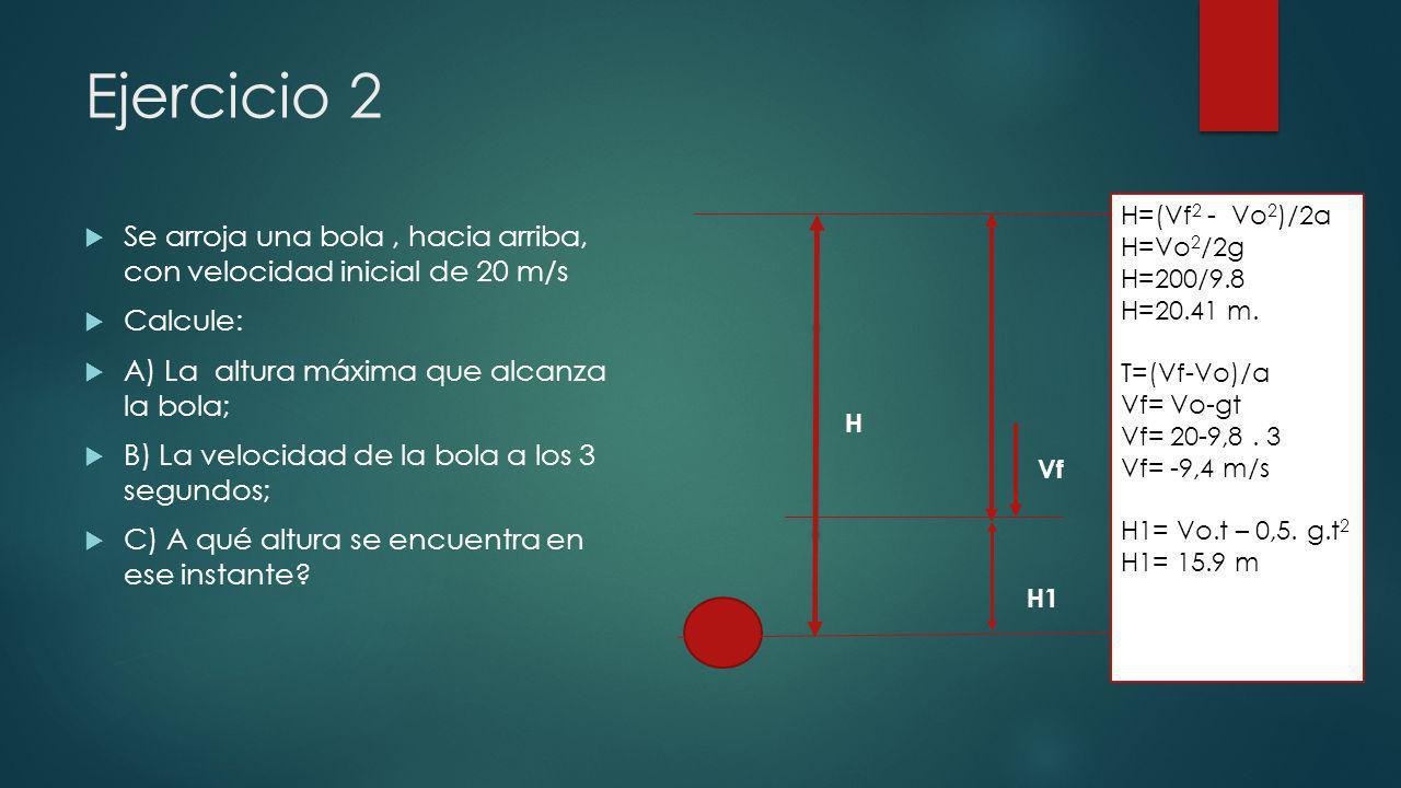 Ejercicio 2 H=(Vf2 - Vo2)/2a. H=Vo2/2g. H=200/9.8. H=20.41 m. T=(Vf-Vo)/a. Vf= Vo-gt. Vf= 20-9,8 . 3.