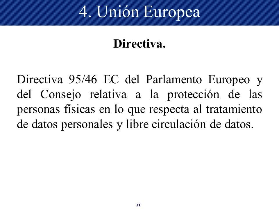 4. Unión Europea Directiva.