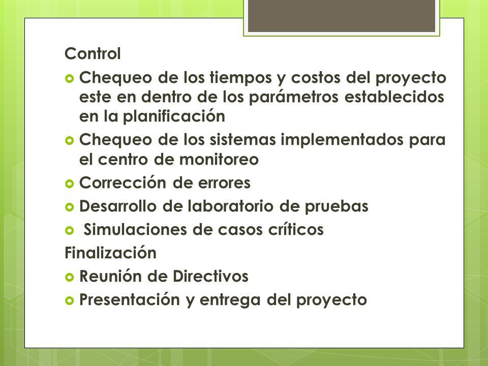 Control Chequeo de los tiempos y costos del proyecto este en dentro de los parámetros establecidos en la planificación.