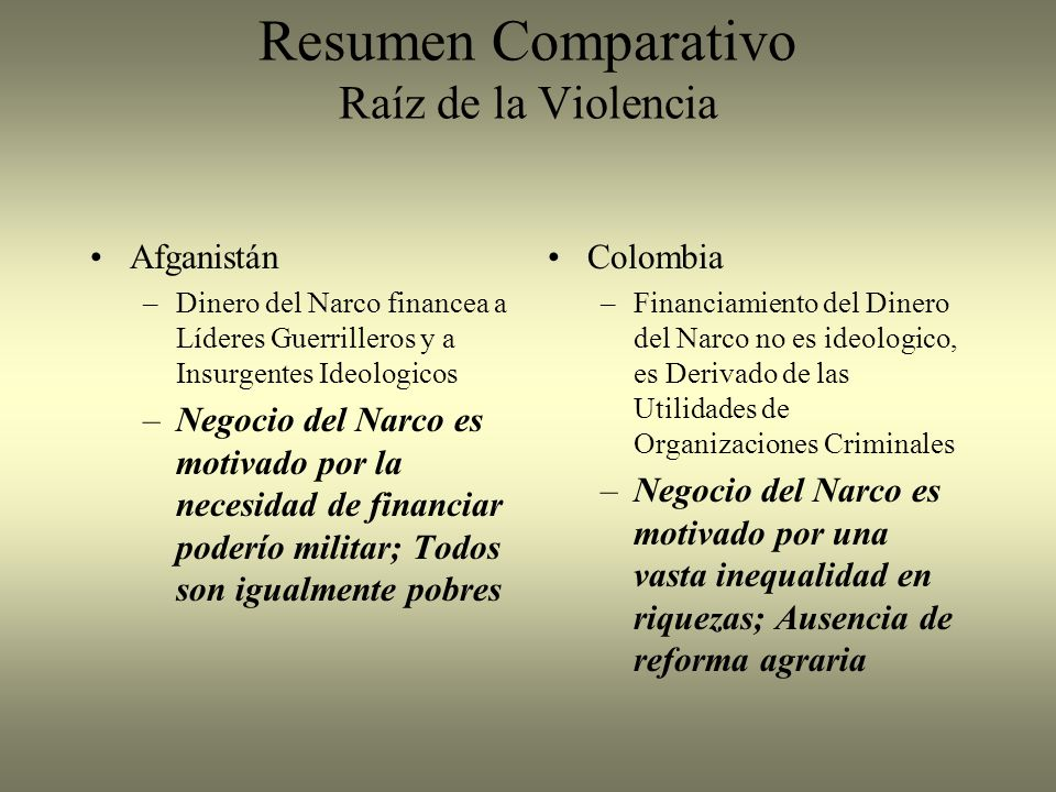 Resumen Comparativo Raíz de la Violencia