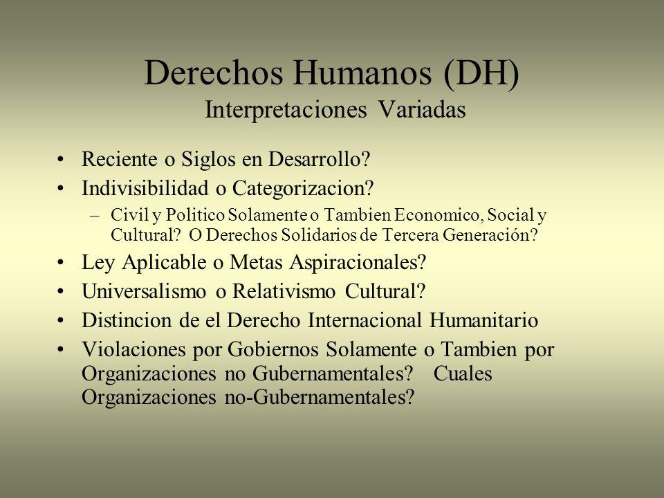 Derechos Humanos (DH) Interpretaciones Variadas