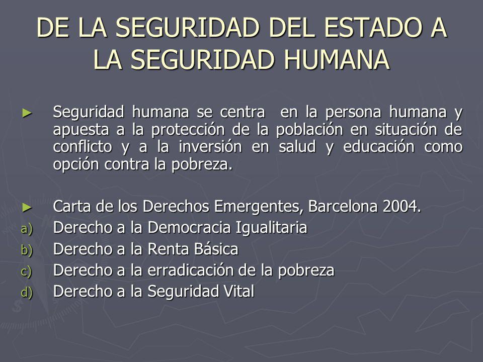 DE LA SEGURIDAD DEL ESTADO A LA SEGURIDAD HUMANA