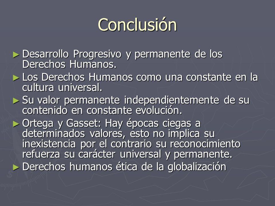 Conclusión Desarrollo Progresivo y permanente de los Derechos Humanos.
