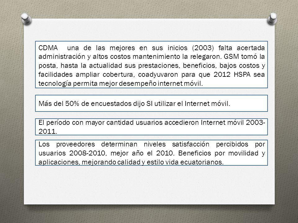 CDMA una de las mejores en sus inicios (2003) falta acertada administración y altos costos mantenimiento la relegaron. GSM tomó la posta, hasta la actualidad sus prestaciones, beneficios, bajos costos y facilidades ampliar cobertura, coadyuvaron para que 2012 HSPA sea tecnología permita mejor desempeño internet móvil.