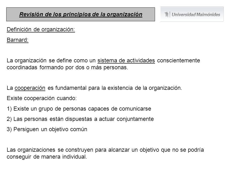 Revisión de los principios de la organización
