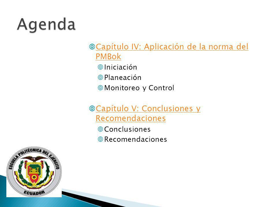 Agenda Capítulo IV: Aplicación de la norma del PMBok