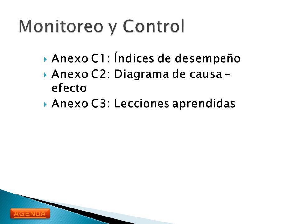 Monitoreo y Control Anexo C1: Índices de desempeño