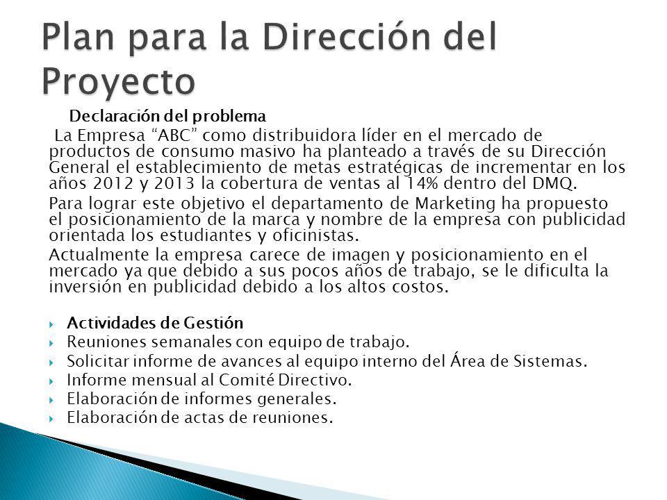 Plan para la Dirección del Proyecto