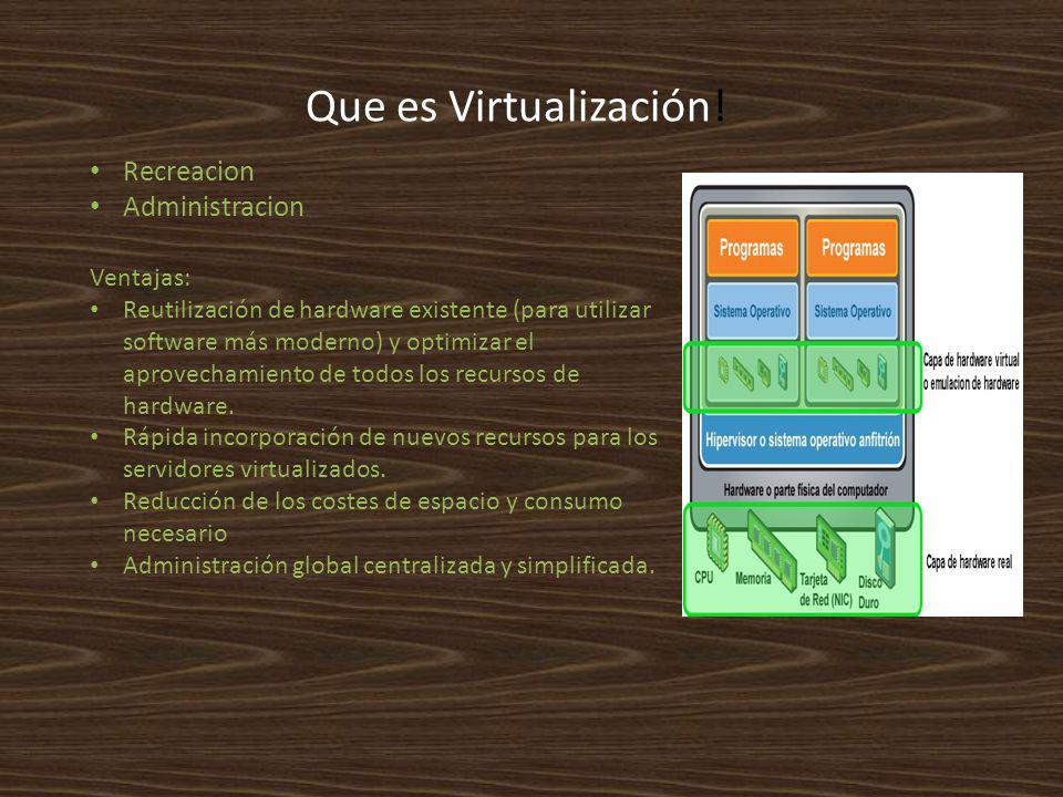 Que es Virtualización! Recreacion Administracion Ventajas: