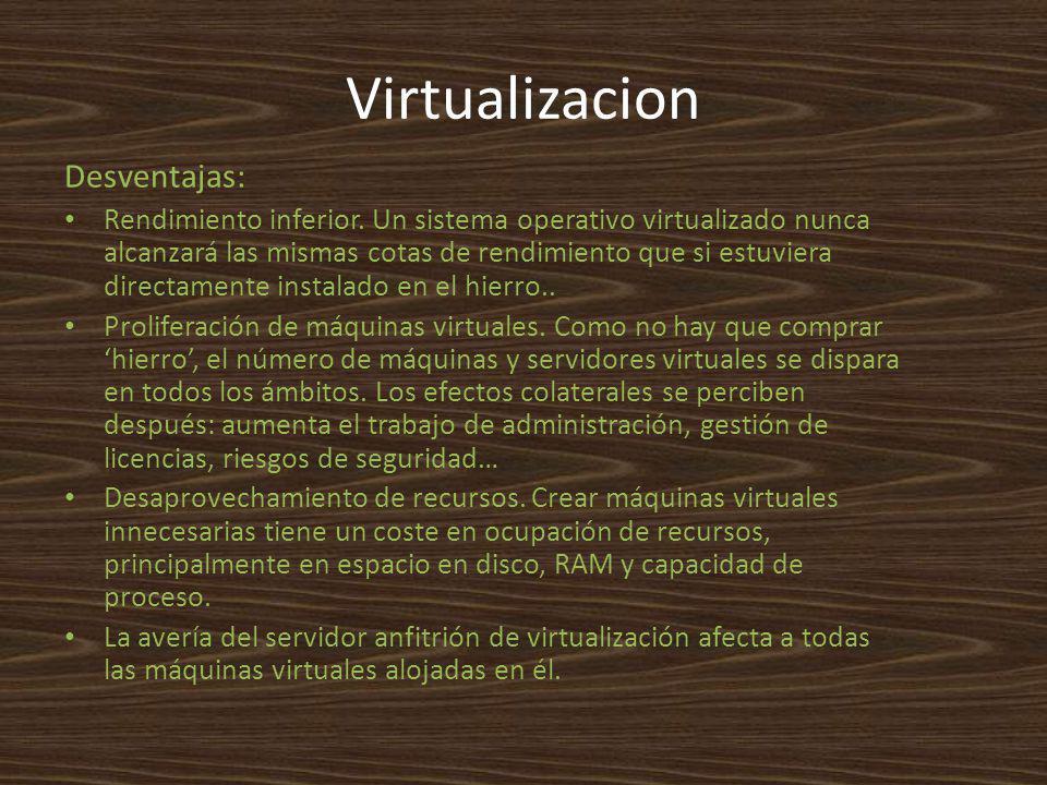 Virtualizacion Desventajas: