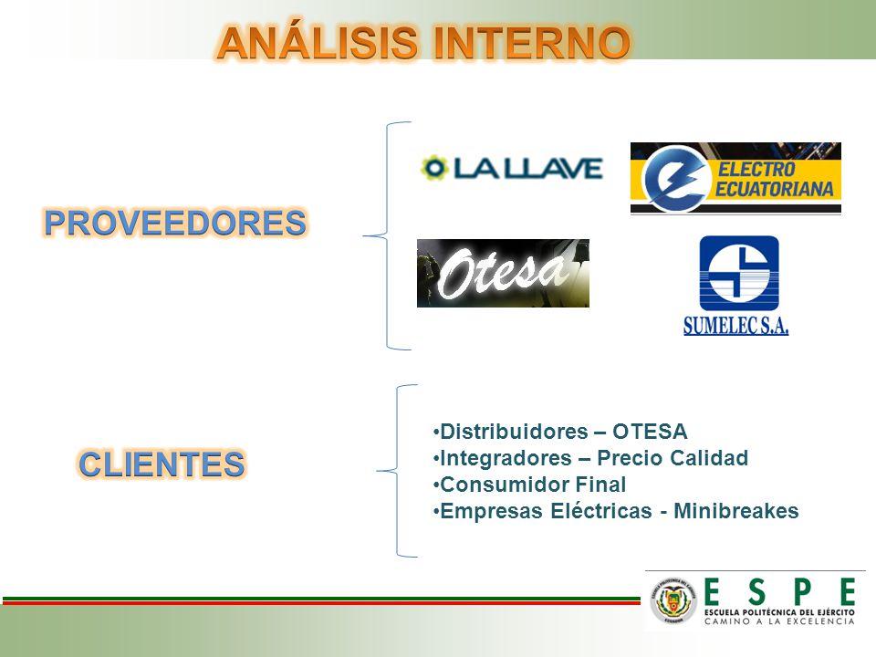 ANÁLISIS INTERNO PROVEEDORES CLIENTES Distribuidores – OTESA