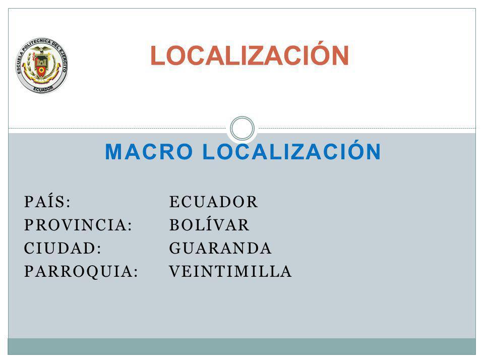 LOCALIZACIÓN MACRO LOCALIZACIÓN PAÍS: ECUADOR PROVINCIA: BOLÍVAR