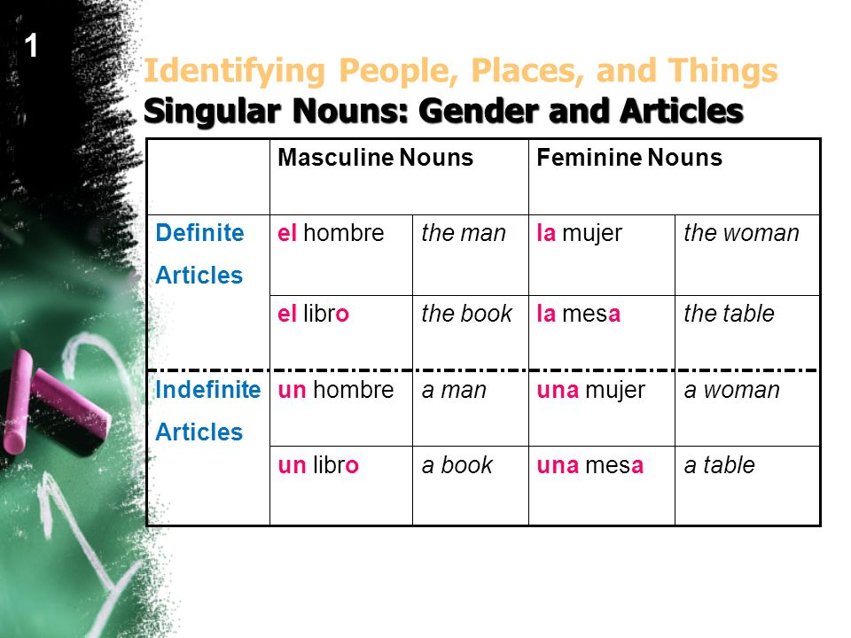 1Identifying People, Places, and Things Singular Nouns: Gender and Articles. Masculine Nouns. Feminine Nouns.