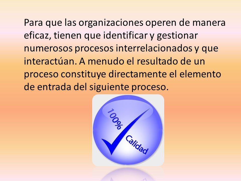 Para que las organizaciones operen de manera eficaz, tienen que identificar y gestionar numerosos procesos interrelacionados y que interactúan.