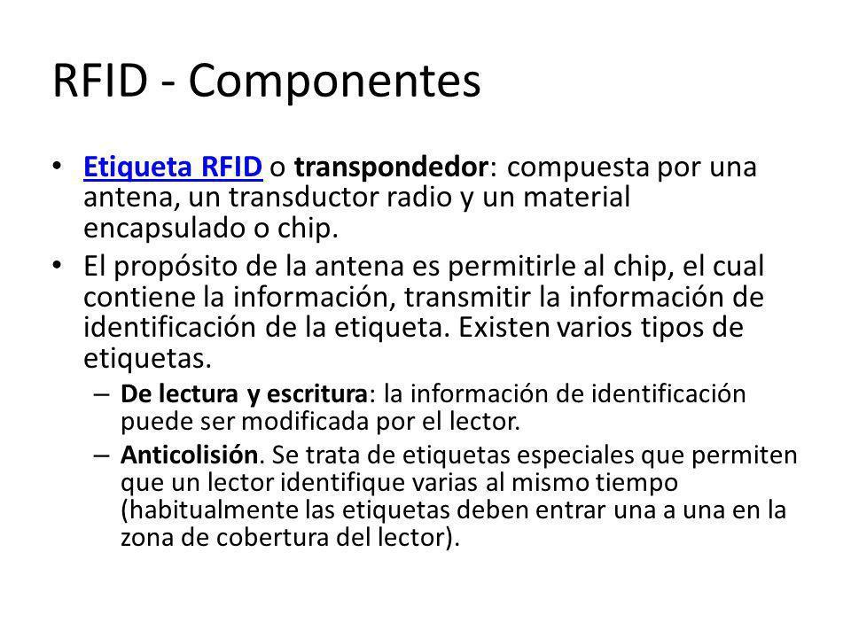 RFID - Componentes Etiqueta RFID o transpondedor: compuesta por una antena, un transductor radio y un material encapsulado o chip.