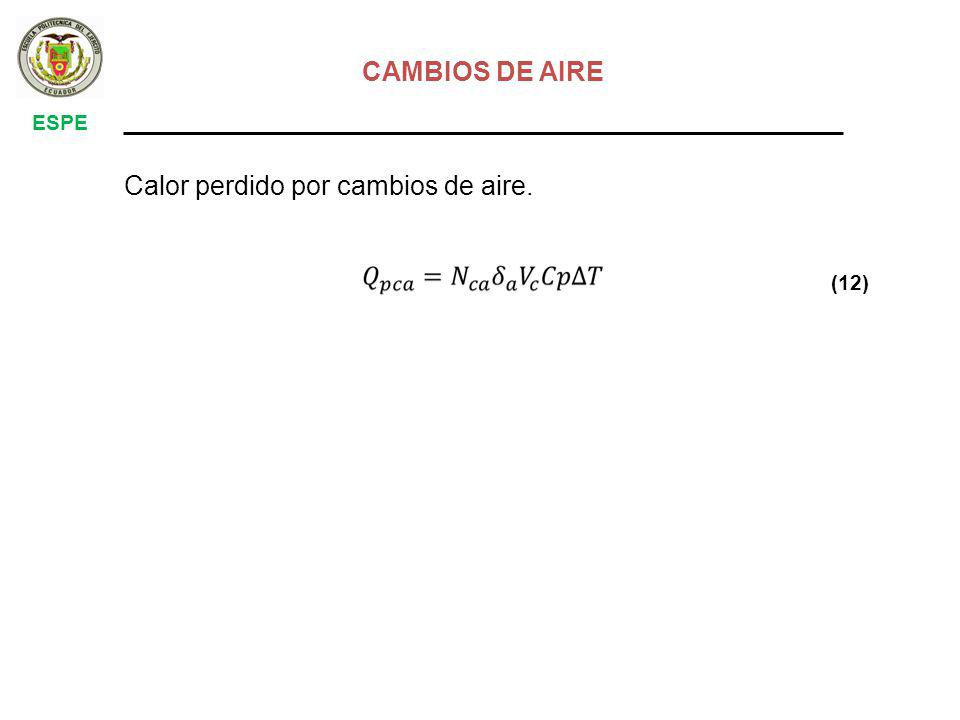 CAMBIOS DE AIRE ESPE Calor perdido por cambios de aire. (12)