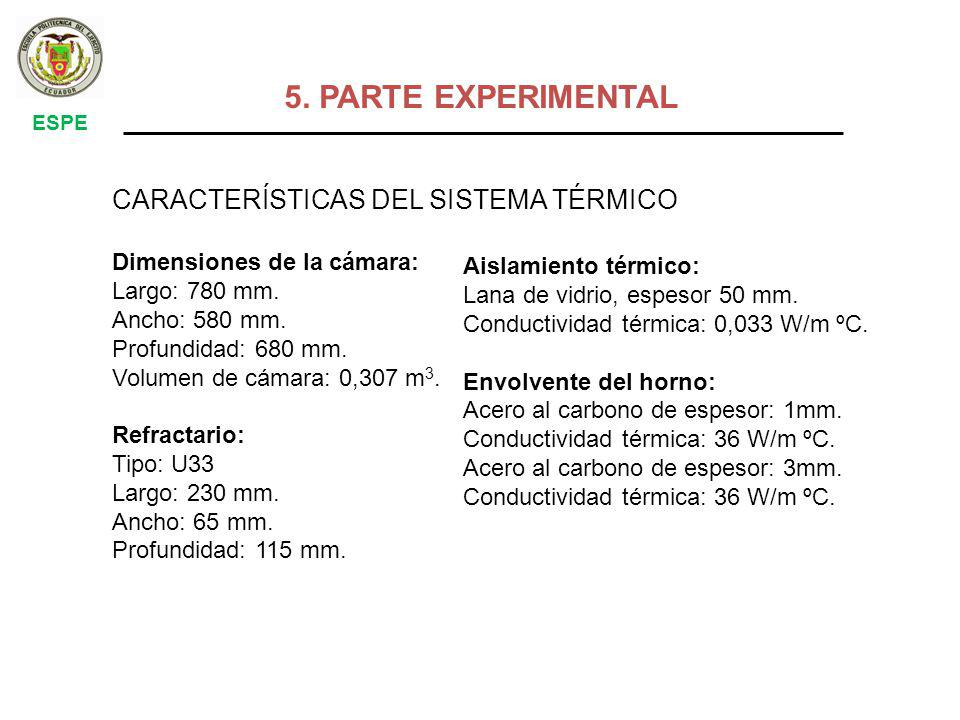5. PARTE EXPERIMENTAL CARACTERÍSTICAS DEL SISTEMA TÉRMICO