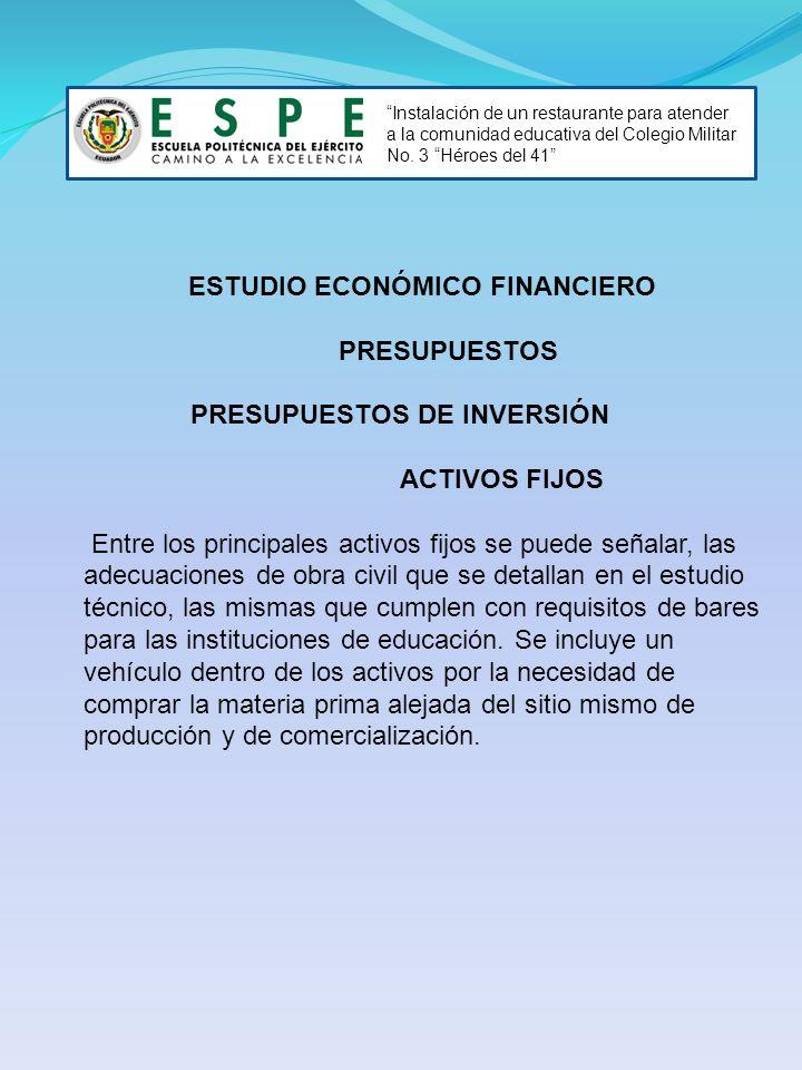 ESTUDIO ECONÓMICO FINANCIERO