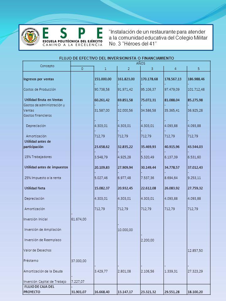 FLUJO DE EFECTIVO DEL INVERSIONISTA O FINANCIAMIENTO