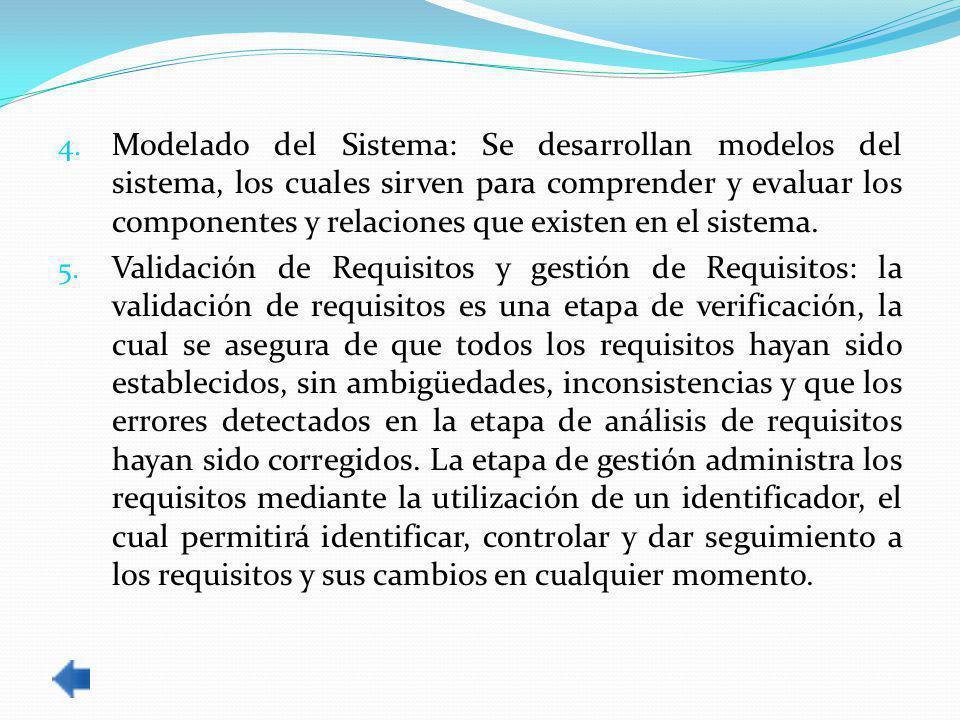 Modelado del Sistema: Se desarrollan modelos del sistema, los cuales sirven para comprender y evaluar los componentes y relaciones que existen en el sistema.