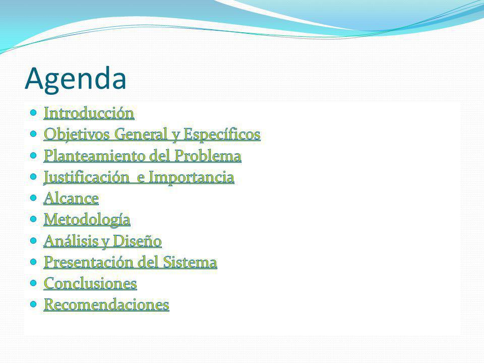 Agenda Introducción Objetivos General y Específicos