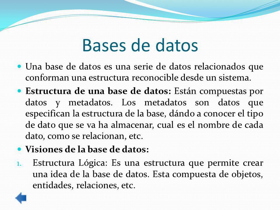 Bases de datos Una base de datos es una serie de datos relacionados que conforman una estructura reconocible desde un sistema.