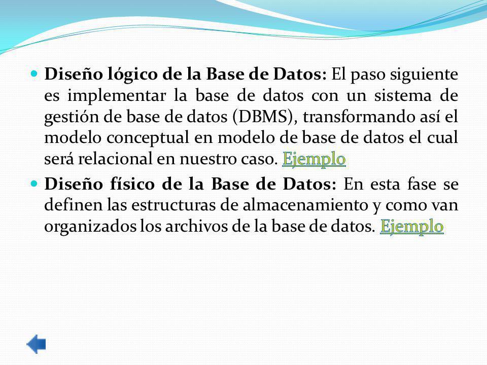 Diseño lógico de la Base de Datos: El paso siguiente es implementar la base de datos con un sistema de gestión de base de datos (DBMS), transformando así el modelo conceptual en modelo de base de datos el cual será relacional en nuestro caso. Ejemplo