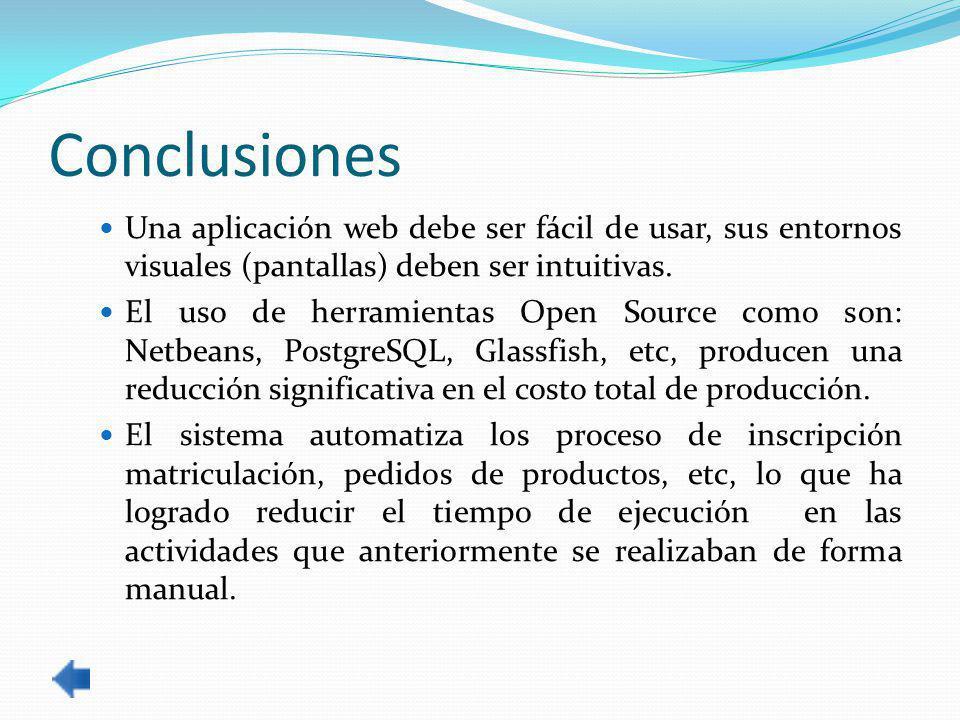 Conclusiones Una aplicación web debe ser fácil de usar, sus entornos visuales (pantallas) deben ser intuitivas.