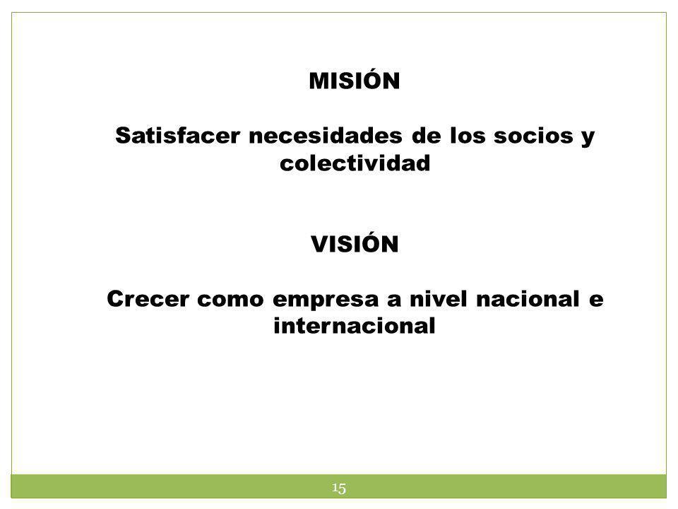 Satisfacer necesidades de los socios y colectividad