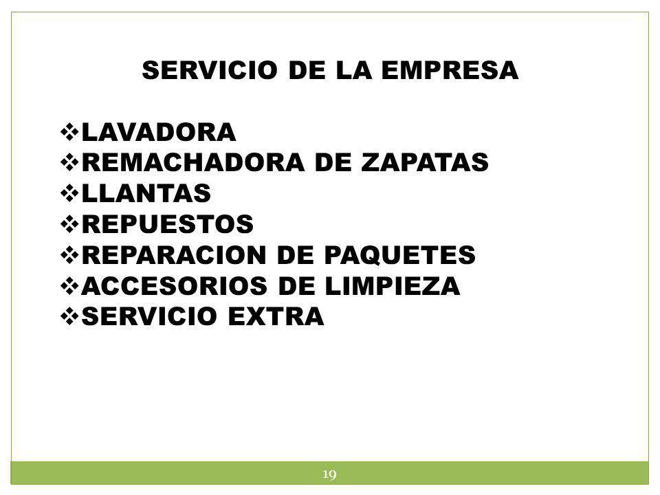 SERVICIO DE LA EMPRESA LAVADORA. REMACHADORA DE ZAPATAS. LLANTAS. REPUESTOS. REPARACION DE PAQUETES.