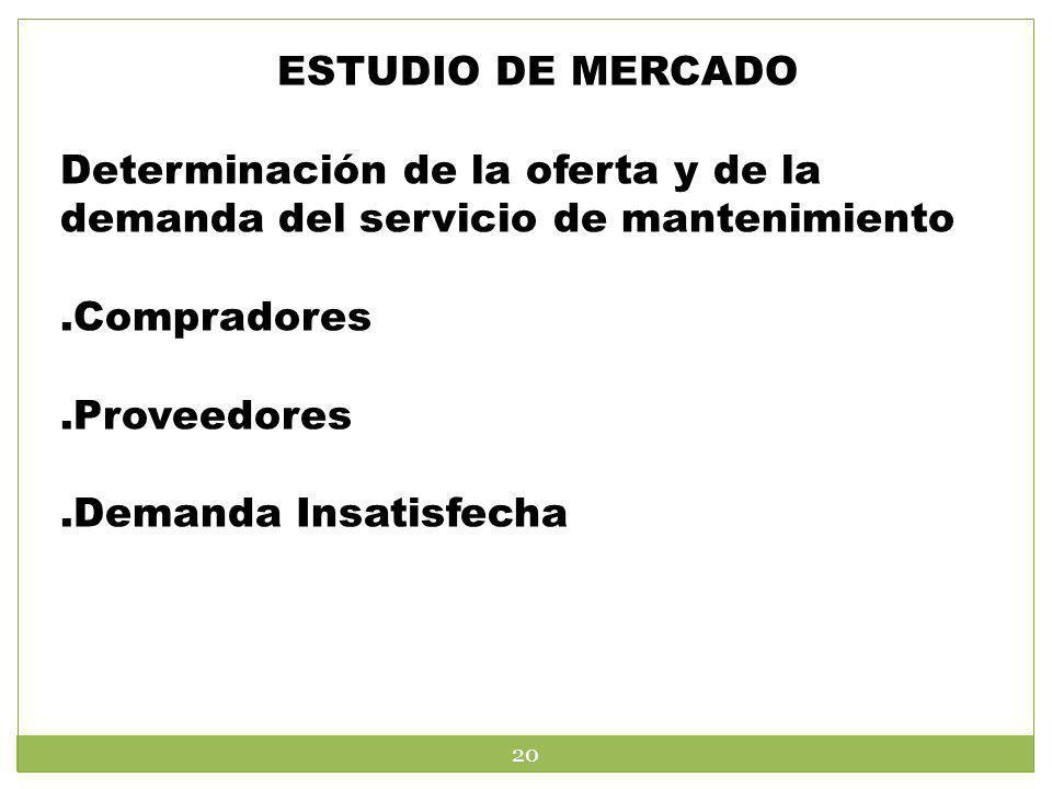 ESTUDIO DE MERCADO Determinación de la oferta y de la demanda del servicio de mantenimiento. .Compradores.