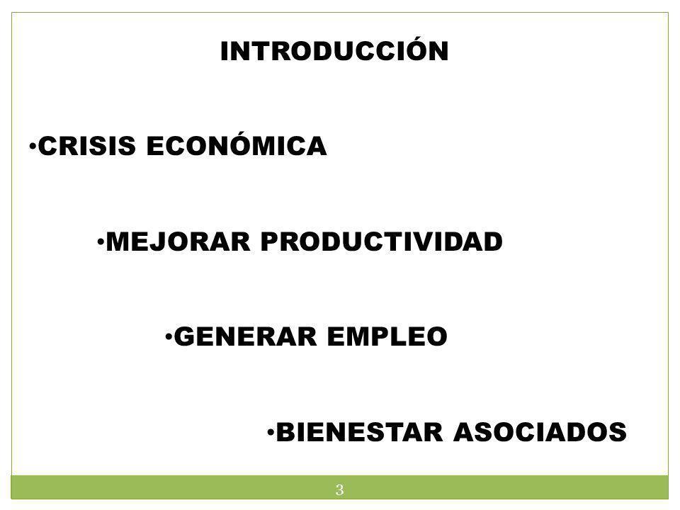 INTRODUCCIÓN CRISIS ECONÓMICA MEJORAR PRODUCTIVIDAD GENERAR EMPLEO BIENESTAR ASOCIADOS