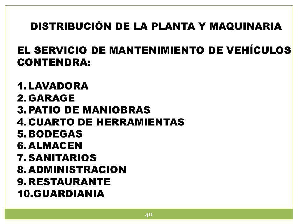 DISTRIBUCIÓN DE LA PLANTA Y MAQUINARIA