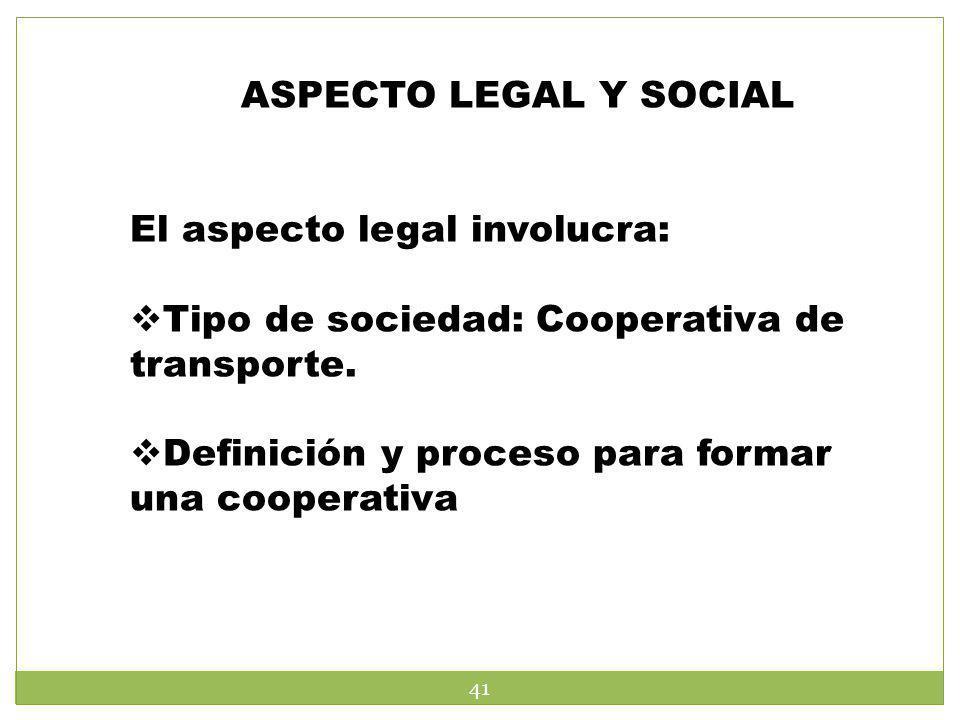 ASPECTO LEGAL Y SOCIAL El aspecto legal involucra: Tipo de sociedad: Cooperativa de transporte.