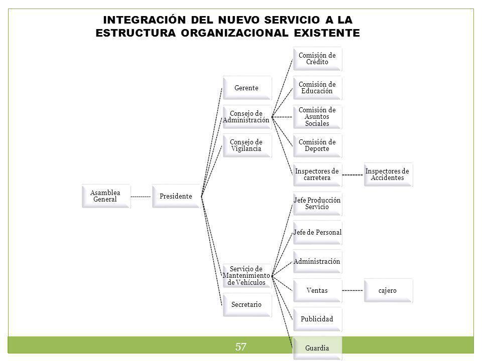 INTEGRACIÓN DEL NUEVO SERVICIO A LA ESTRUCTURA ORGANIZACIONAL EXISTENTE