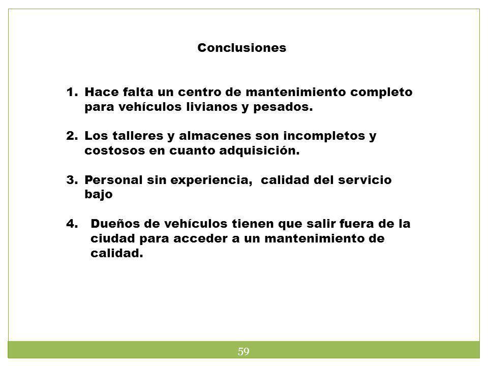 Conclusiones Hace falta un centro de mantenimiento completo para vehículos livianos y pesados.