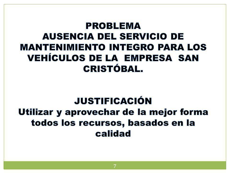PROBLEMA AUSENCIA DEL SERVICIO DE MANTENIMIENTO INTEGRO PARA LOS VEHÍCULOS DE LA EMPRESA SAN CRISTÓBAL.