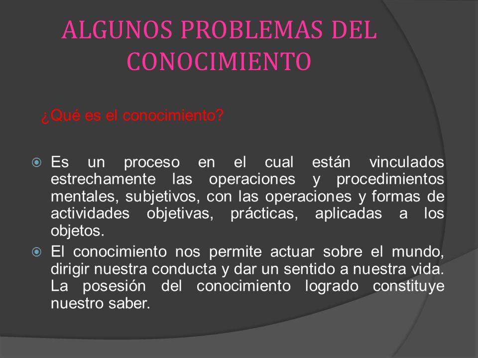 ALGUNOS PROBLEMAS DEL CONOCIMIENTO