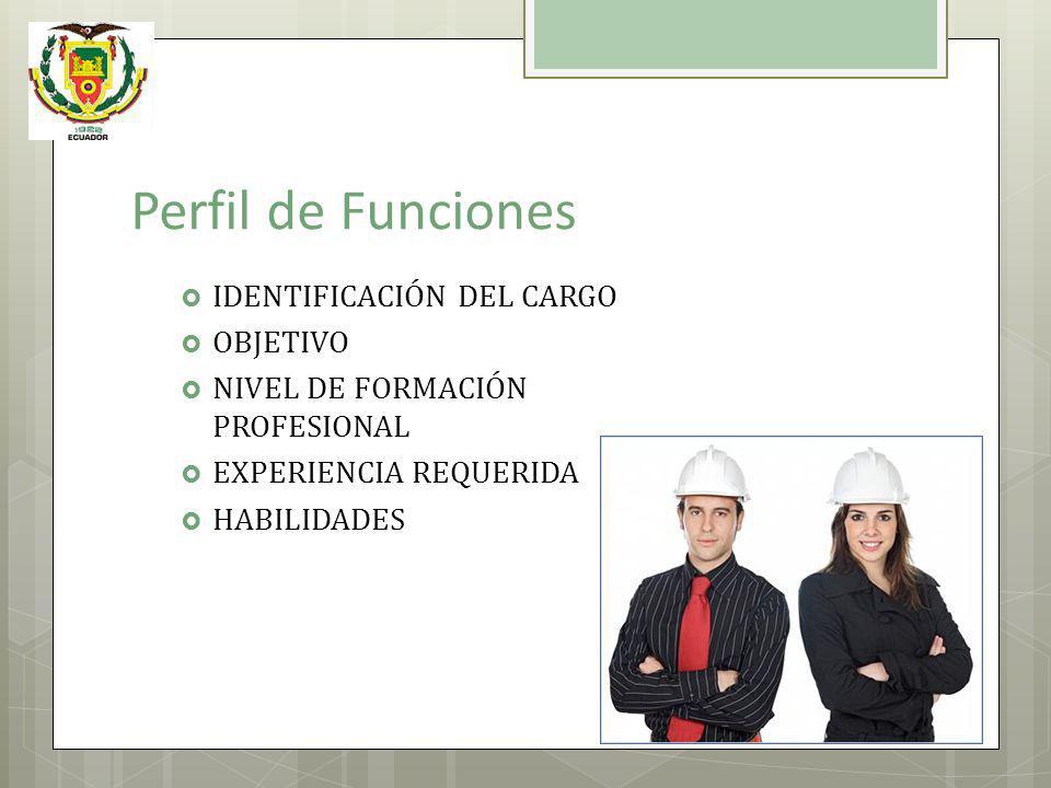 Perfil de Funciones IDENTIFICACIÓN DEL CARGO OBJETIVO