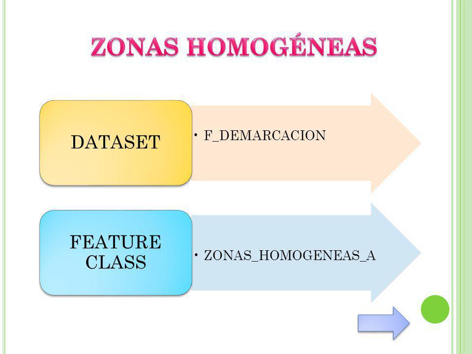 ZONAS HOMOGÉNEAS DATASET FEATURE CLASS F_DEMARCACION
