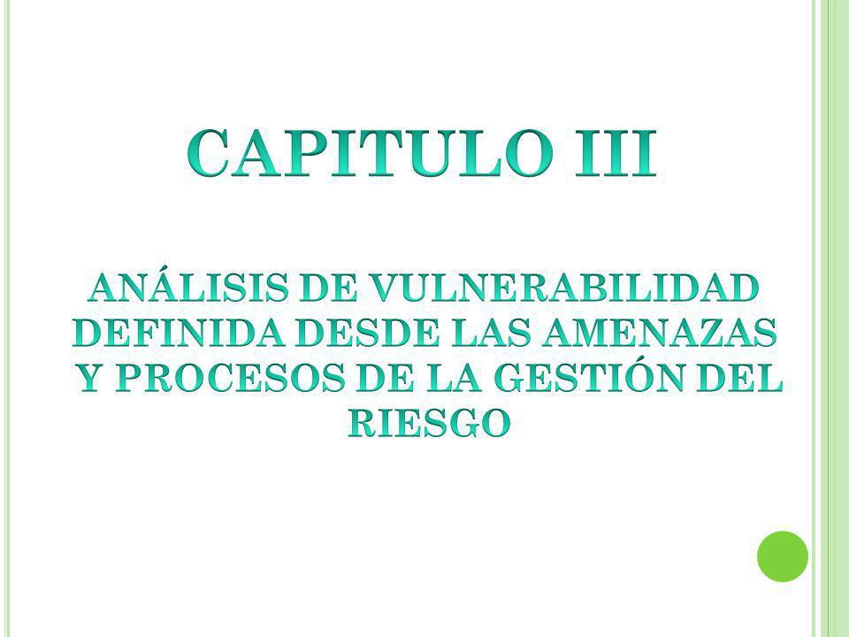 CAPITULO III ANÁLISIS DE VULNERABILIDAD DEFINIDA DESDE LAS AMENAZAS